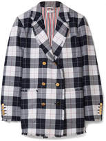 Thom Browne Double-breasted Frayed Checked Wool-blend Blazer - Midnight blue