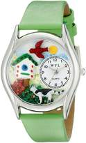 Whimsical Watches Women's S1210009 Birdhouse Cat Black Leather Watch