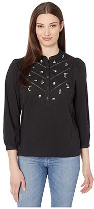 Lucky Brand 3/4 Sleeve Henley Embroidered Top (Lucky Black) Women's Clothing