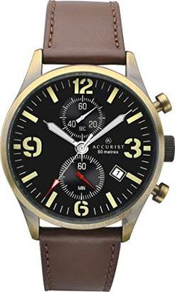 Accurist Men's Quartz Watch with Black Dial Chronograph Display and Brown Leather Strap 7023.01