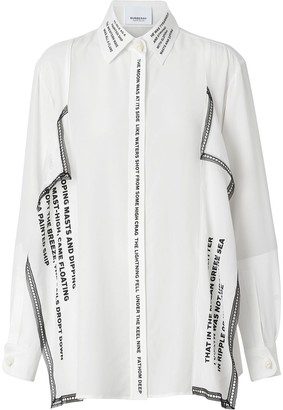 Burberry Mariner print lace trim oversized shirt