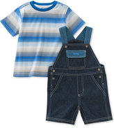 Calvin Klein 2-Pc. Striped T-Shirt & Overall Set, Baby Boys (0-24 Months)