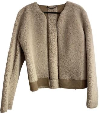 Jigsaw Beige Shearling Leather Jacket for Women