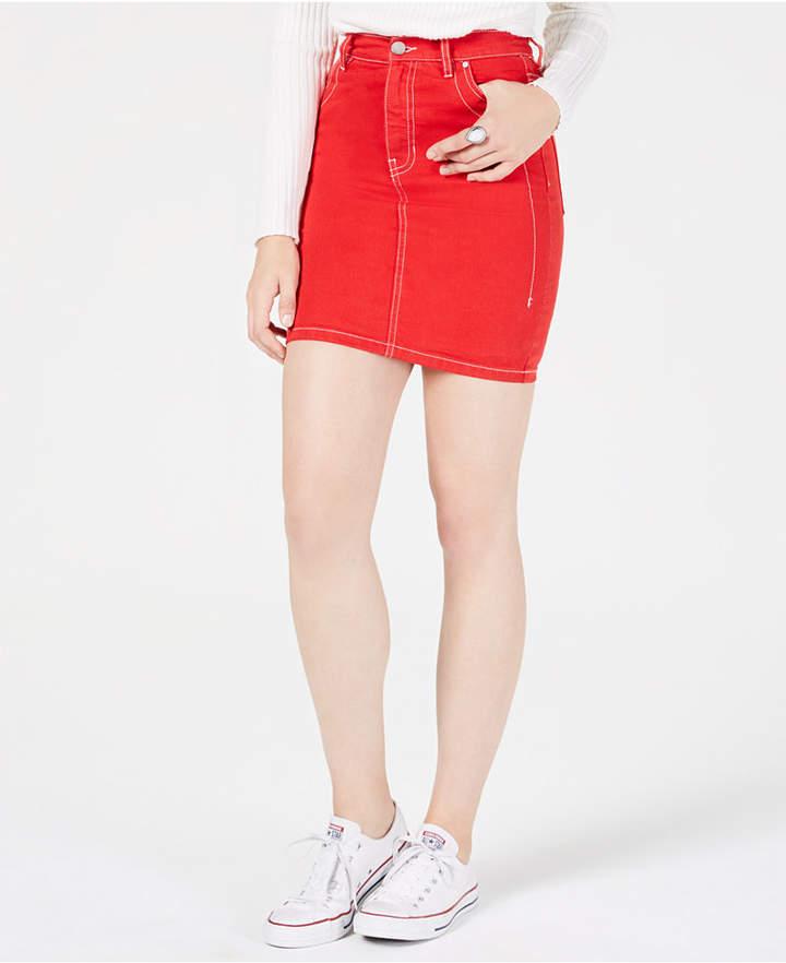 KENDALL + KYLIE Cotton Mini Jean Skirt