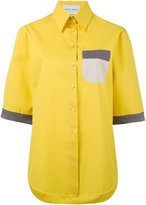 Daizy Shely - high neck shortsleeved shirt - women - Cotton - 42