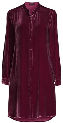 Eileen Fisher Silk Velvet Midi Shirtdress