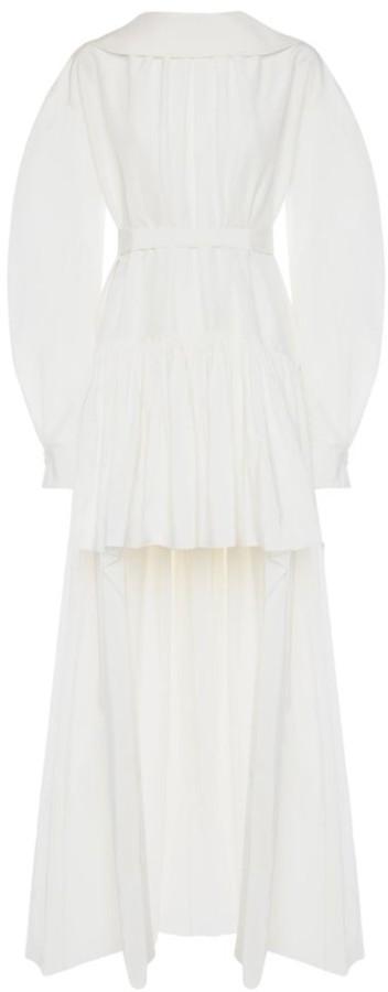 Alexander McQueen Puff-Sleeve Cotton & Silk High-Low Dress