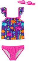 Jump N Splash Girls' Fab Fish TwoPiece Swimsuit w/ Free Goggles (4-6X) - 8143016