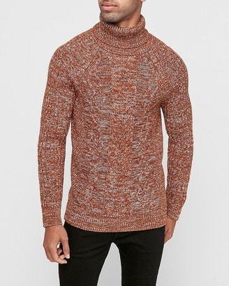 Express Marled Cable Knit Turtleneck Sweater