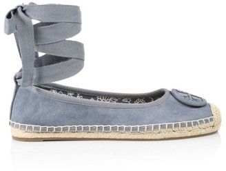 Tory Burch Minnie Ankle-Wrap Suede Espadrilles