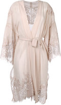 Gold Hawk lace trim wrap dress - women - Silk/Cotton/Nylon/Viscose - M