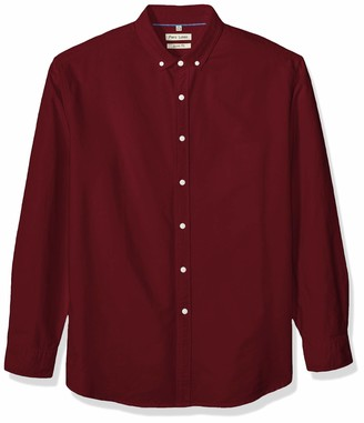 Piero Lusso Men's Slim Fit Long Sleeve Solid Oxford Shirt Colors Button Down