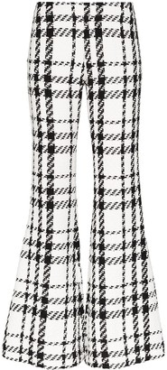 Balmain Check Tweed Flared Trousers