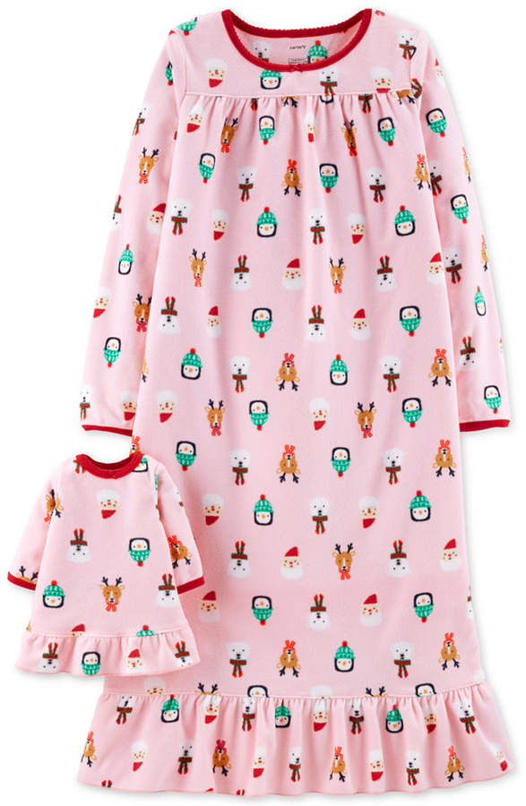 Carter's Toddler, Little & Big Girls Holiday-Print Nightgown with Doll Nightgown
