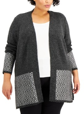 Karen Scott Plus Size Contrast Open-Front Cardigan, Created for Macy's