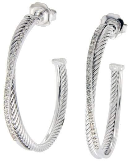 David Yurman 925 Sterling Silver & 14K White Gold Diamonds Hoop Earrings