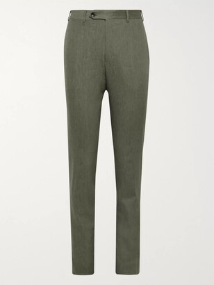Canali Beige Kei Slim-Fit Linen And Wool-Blend Suit Trousers