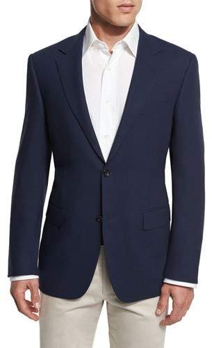 Canali New Basic Hopsack Two-Button Sport Coat, High Navy