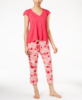 Oscar de la Renta Knit Top and Poppy-Print Capri Pants Pajama Set
