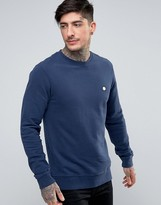 Pretty Green Foxlair Crew Sweat Slim Fit Small Logo in Navy