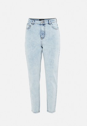 Missguided Blue Acid Wash Highwaisted Comfort Stretch Mom Jeans