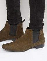 Asos Chelsea Boots In Khaki Suede With Back Pull