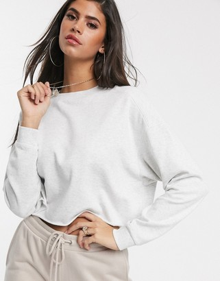 ASOS DESIGN oversized boxy sweat with stitch detail in ice marl