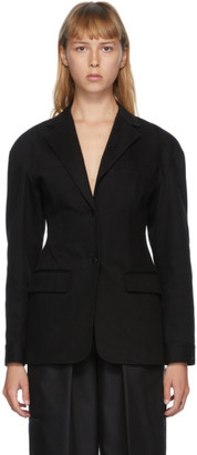 Alexander Wang Black Denim Drop Shoulder Tailored Blazer
