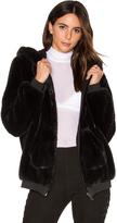 KENDALL + KYLIE Fur Zip Up Faux Fur Hoodie