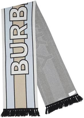 Burberry Logo Intarsia Fringed Scarf