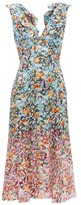 Saloni Holly Floral-print Silk-crepe Dress - Womens - Blue Multi