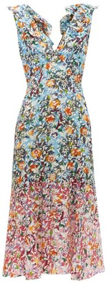 Saloni Holly Floral-print Silk-crepe Dress - Womens - Blue Multi