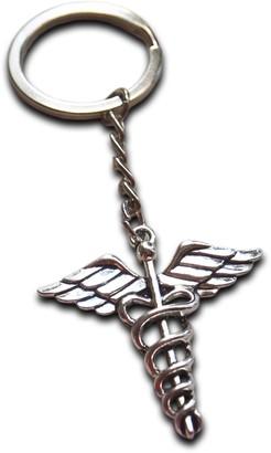 Anne's Gift Emporium Metal Caduceus Key Ring Medical Symbol Gift for Doctor Nurse MD RN EMT Key Chain Pendant
