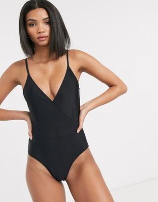 Vero Moda wrap swimsuit with scoop back in black