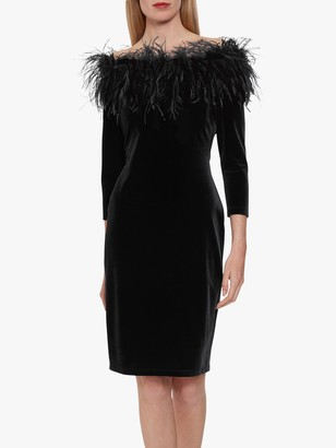 Gina Bacconi Dania Feather Trim Dress