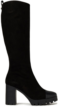 Giuseppe Zanotti Leather-trimmed Suede Platform Knee Boots