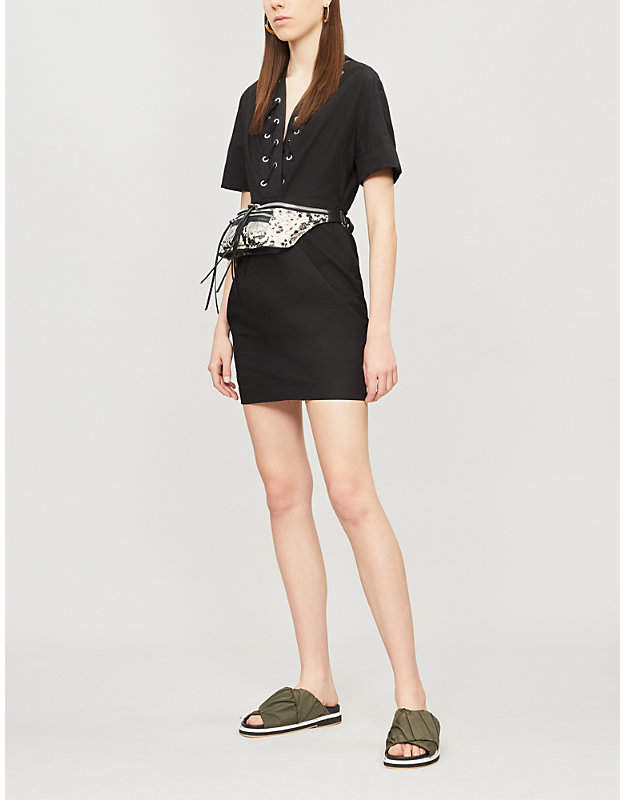 Sandro Laced-neck cotton and linen-blend dress