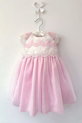Mini Vanilla London Baby Girls Christening Party Dress: A Stunning Dress with Pink and Overlaying fine Ivory Tulle Ages 0-3 Months to 24 Months.