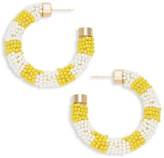 Ava & Aiden Striped Seed Bead Hoop Earrings
