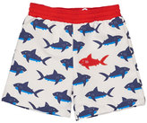 Florence Eiseman Shark-Print Swim Trunks, Blue/White, Size 6-24 Months