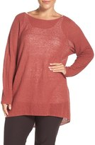 Eileen Fisher Plus Size Women's Bateau Neck Organic Linen Top
