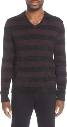 John Varvatos Star USA Slim Fit Stripe Wool Blend Sweater