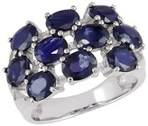 4 CT. T.W. Sapphire Clusters 4 Prong Ring in Sterling Silver