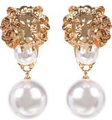 Amrita Singh Women's Earrings Gold/Pearl - Imitation Pearl & Goldtone Lion Drop Earrings