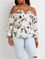 Charlotte Russe Plus Size Floral Strappy Cold Shoulder Top