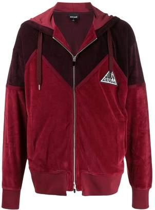 Just Cavalli logo patch zip-up hoodie