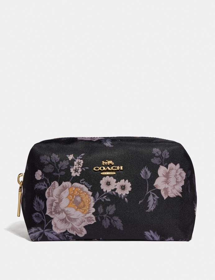 Small Boxy Cosmetic Case With Garden Rose Print by Small Boxy Cosmetic Case With Garden Rose Print