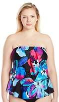 Maxine Of Hollywood Women's Plus Size Flourish Peplum Bandeau Strapless Bluson Swimsuit Tankini Top