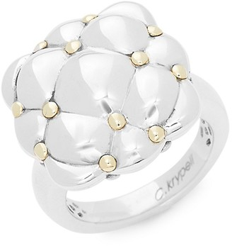Charles Krypell Sterling Silver 18K Yellow Gold Ring