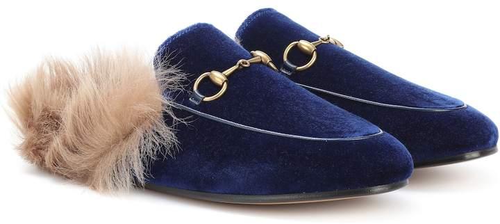 Princetown fur,lined velvet slippers
